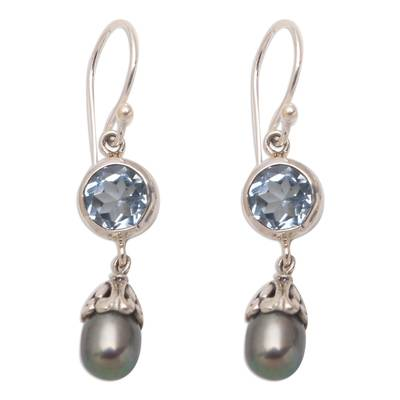Blue Topaz and Cultured Pearl Dangle Earrings from Bali