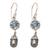 Blue topaz and cultured pearl dangle earrings, 'Fruit of Light' - Blue Topaz and Cultured Pearl Dangle Earrings from Bali thumbail