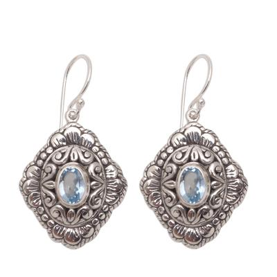 Oval Blue Topaz Dangle Earrings from Bali