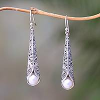 Cultured pearl dangle earrings, 'Balinese Trumpet in White' - White Cultured Pearl Cone Dangle Earrings from Bali