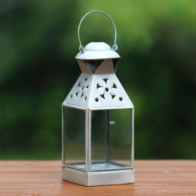 Brass lantern, 'Java Glow' - Handcrafted Brass Lantern in White from Java