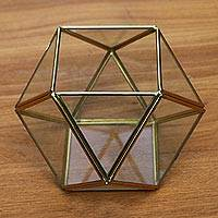 Glass and brass terrarium, 'Complex Shape' - Geometric Glass and Brass Terrarium from Java
