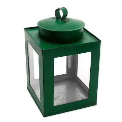 Brass and Glass Decorative Box in Green from Java