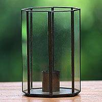 Glass and brass candle holder, 'Senthir' - Glass and Brass Candle Holder Crafted in Java