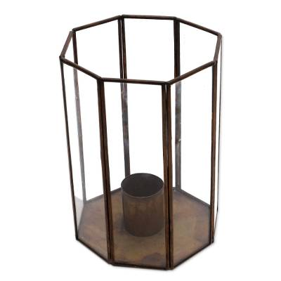 Glass and Brass Candle Holder Crafted in Java