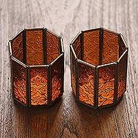 Glass and brass candle holders, 'Malioboro Glow' (pair) - Glass and Brass Candle Holders in Brown from Java (Pair)