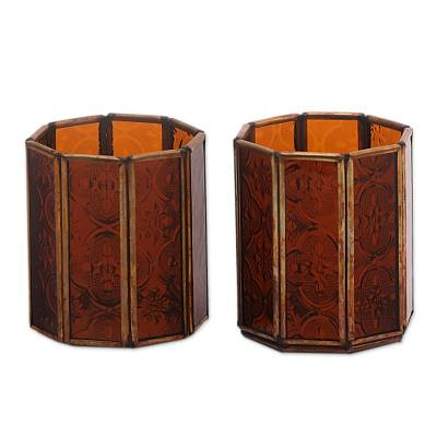 Glass and Brass Candle Holders in Brown from Java (Pair)