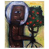 'Planting an Apple Tree on Mars' - Signed Expressionist Astronaut Painting from Bali