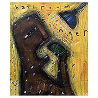 'Bathroom Singer' - Signed Expressionist Shower Painting from Bali