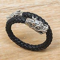 Men's sterling silver and leather braided wrap bracelet, 'Dragon Pattern'