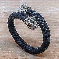 Men's sterling silver and leather braided wrap bracelet, 'Twin Samsi' - Cultural Men's Sterling Silver and Leather Bracelet