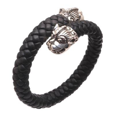 Men's sterling silver and braided leather cuff bracelet, 'Twin Samsi' - Cultural Men's Sterling Silver and Leather Bracelet