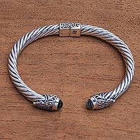 Gold accented prasiolite cuff bracelet,
