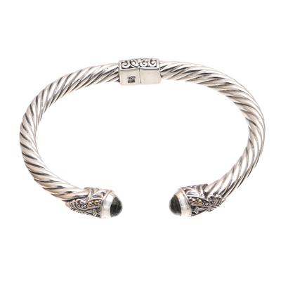 Gold Accented Prasiolite Cuff Bracelet from Bali