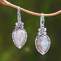 Gold accented labradorite dangle earrings, 'Touch of Jepun' - Floral Gold Accented Labradorite Dangle Earrings from Bali