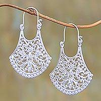 Sterling silver plated drop earrings, 'Alam Bali' - Openwork Silver Plated Drop Earrings from Bali