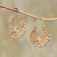 Gold plated brass drop earrings, 'Alam Happiness' - Round Gold Plated Brass Drop Earrings from Bali