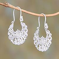 Sterling silver plated drop earrings, 'Alam Happiness' - Round Sterling Silver Plated Drop Earrings from Bali