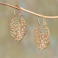 Gold plated brass drop earrings, 'Angelic Alam' - Artisan Crafted Gold Plated Brass Drop Earrings from Bali