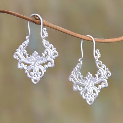 Sterling silver plated drop earrings, 'Alam Pride' - Curl Motif Sterling Silver Plated Drop Earrings from Bali