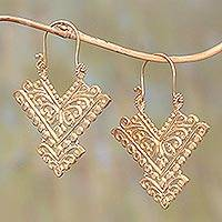 Gold plated brass drop earrings, 'Glamorous Pura' - Pointed 18k Gold Plated Brass Drop Earrings from Bali