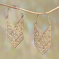 Gold plated brass drop earrings, 'Luxurious Pura' - 18k Gold Plated Brass Arrow Drop Earrings from Bali
