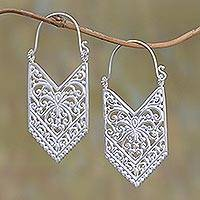 Sterling silver plated drop earrings, 'Luxurious Pura' - Sterling Silver Plated Arrow Drop Earrings from Bali