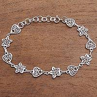 Sterling silver filigree link bracelet, 'Hearts and Stars' - Star and Heart Sterling Silver Filigree Link Bracelet