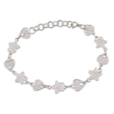 Star and Heart Sterling Silver Filigree Link Bracelet
