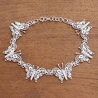 Sterling silver filigree link bracelet, 'Glittering Butterflies' - Sterling Silver Filigree Butterfly Link Bracelet from Java