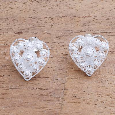 Sterling silver button earrings, 'Stars in the Heart' - Star Pattern Sterling Silver Heart Earrings from Java