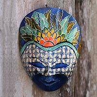 Batik wood mask, 'The Blue Prince' - Floral Batik Wood Mask from Java