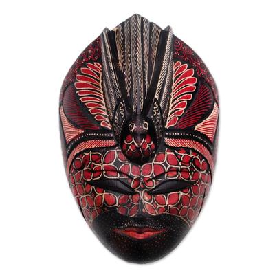 Bird-Themed Batik Wood Mask from Java