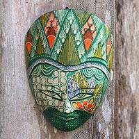 Batik wood mask, 'Cheery Princess' - Batik Wood Mask in Green and Multicolor from Java