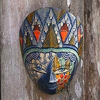 Batik wood mask, 'Blue Princess' - Batik Wood Mask in Blue and Multicolor from Java
