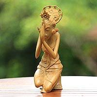 Wood sculpture, 'Praying Ibu' - Signed Wood Sculpture of a Praying Balinese Woman