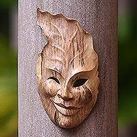 Wood mask, 'Leaf Head' - Hand-Carved Hibiscus Wood Wall Mask from Indonesia