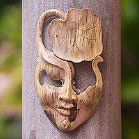 Wood mask, 'One with Nature' - Nature-Themed Hibiscus Wood Mask from Indonesia