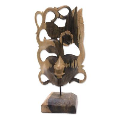 Hand-Carved Floral Hibiscus Wood Mask from Bali