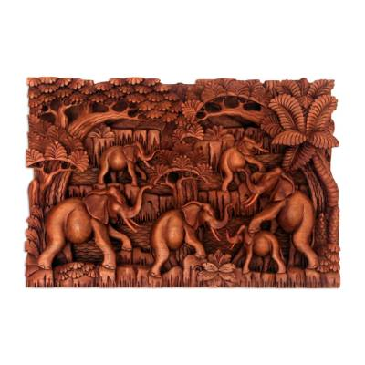 Wood relief panel, 'Elephant Life' - Elephant-Themed Cempaka Wood Relief Panel from Bali