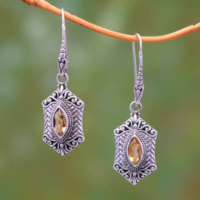 Citrine dangle earrings, 'Sanur Elegance' - Weave Pattern Citrine Dangle Earrings from Bali