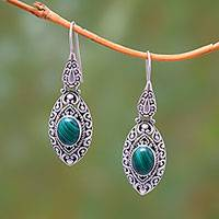 Malachite dangle earrings, 'Precious Canoes' - Natural Malachite Dangle Earrings from Bali