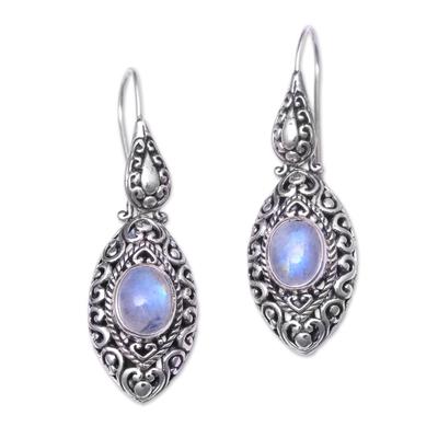 Natural Rainbow Moonstone Dangle Earrings from Bali