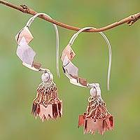 Rose gold accented sterling silver chandelier earrings, 'Millenary Beauty' - Rose Gold Accented Sterling Silver Chandelier Earrings