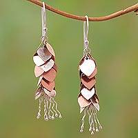 Rose gold accented sterling silver dangle earrings, 'Bundles of Love' - Rose Gold Accented Sterling Silver Dangle Earrings