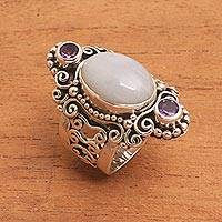Rainbow moonstone and amethyst cocktail ring, 'Glimpse of Sukawati'