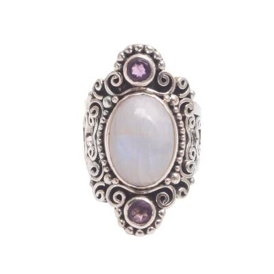 Rainbow moonstone and amethyst cocktail ring, 'Glimpse of Sukawati' - Rainbow Moonstone and Amethyst Cocktail Ring from Bali
