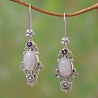 Multi-gemstone dangle earrings, 'Sukawati Floral' - Floral Multi-Gemstone Dangle Earrings from Bali
