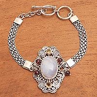 Multi-gemstone pendant bracelet, 'Sukawati Oasis' - Multi-Gemstone Pendant Bracelet Crafted in Bali