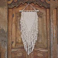 Cotton wall hanging, 'Glimpse of Singaraja' - Diamond Pattern Cotton Wall Hanging from Bali